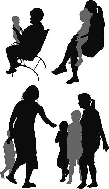 illustrazioni stock, clip art, cartoni animati e icone di tendenza di genitori con i loro bambini - nonna e nipote camminare