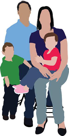 Parents with their children