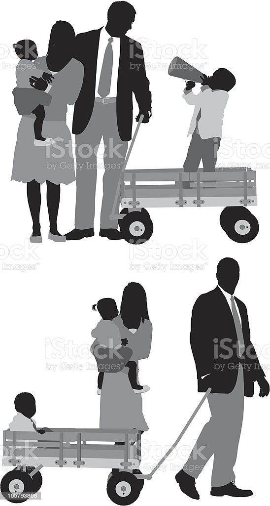 Parents witting with their children vector art illustration