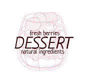 Parfait dessert with berries icon. Cartoon vector hand drawn illustration on white background. Pink vintage sketch label image