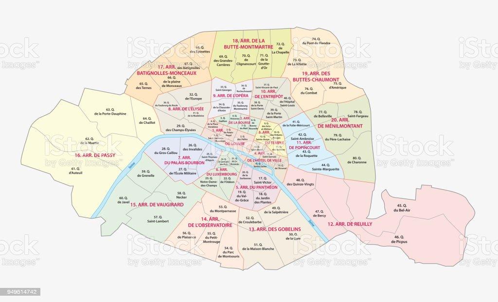 パリの行政や政治の地図 25セント硬貨のベクターアート素材や画像を