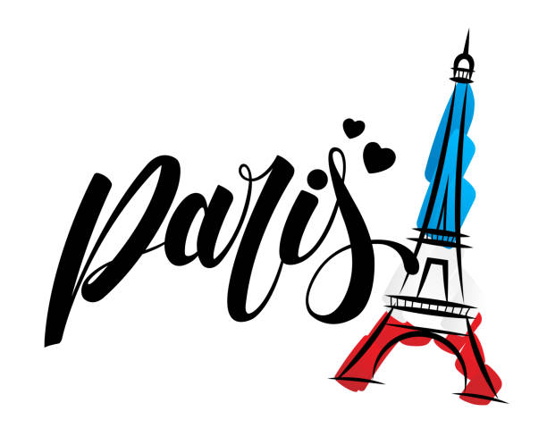 Paris and Eiffel tower logo design Paris and Eiffel tower logo design eiffel tower stock illustrations