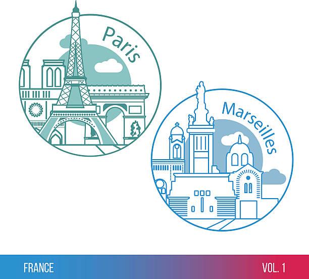 stockillustraties, clipart, cartoons en iconen met paris and marseille. one line trendy style - marseille
