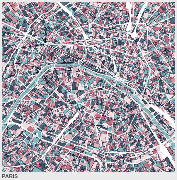 bildbanksillustrationer, clip art samt tecknat material och ikoner med paris art karta bakgrund - paris