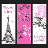 Paris vertical banner set with hand drawn eiffel tower flowers and coffee isolated vector illustration