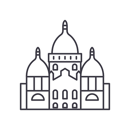 Paris cathedral icon, linear isolated illustration, thin line vector, web design sign, outline concept symbol with editable stroke on white background.