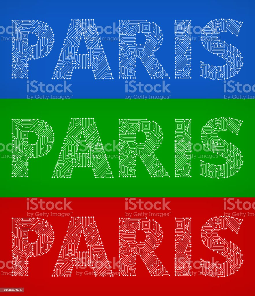 Paris Circuit Board Color Vector Backgrounds Stock Art More Design Over Green Background Illustration Royalty Free