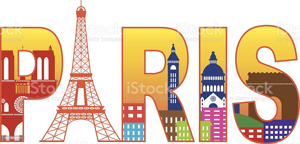 Paris City Eiffel Tower Silhouette Text Color Vector Illustration Royalty Free
