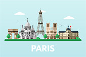 Paris city flat vector banner template. Eiffel Tower, Notre Dame illustration with text space. France capital. Europe world famous landmarks and tourist attractions cartoon design elements