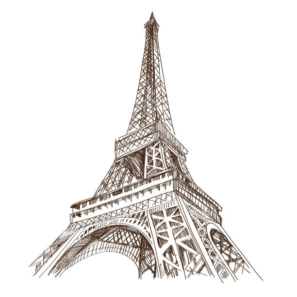 Paris city hand drawn, vector illustration Paris city hand drawn, vector illustration eiffel tower stock illustrations