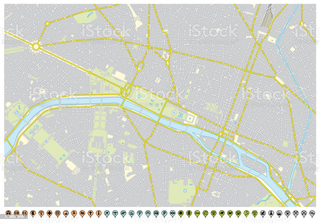 パリ市内地図ピン ポインターとインフラストラクチャのアイコン
