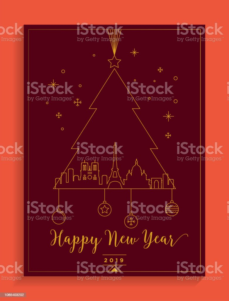 paris city new year card design template royalty free paris city new year card design