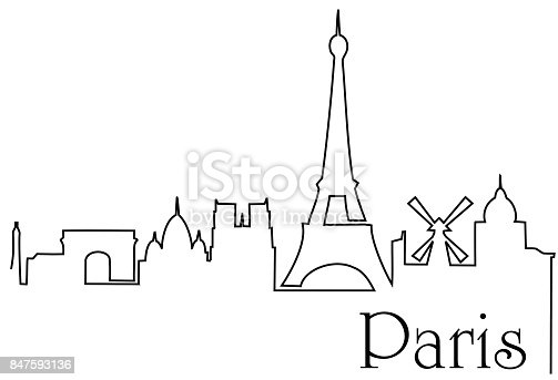 Vector Drawing Lines Xbox One : Paris city one line drawing stock vector art more images