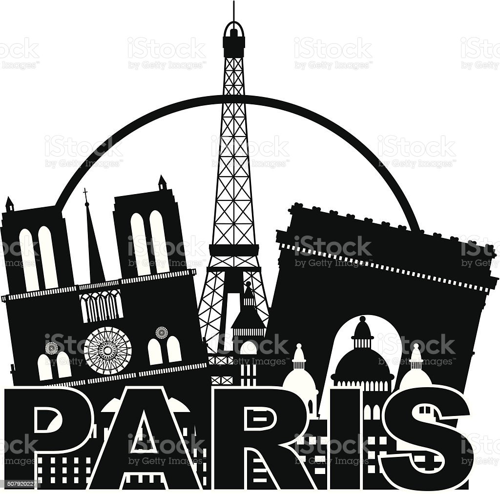 Paris City Skyline Silhouette Circle Black And White Vector
