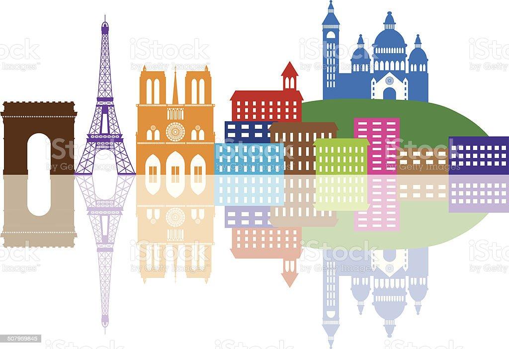 Paris City Skyline Silhouette Color Vector Illustration vector art illustration
