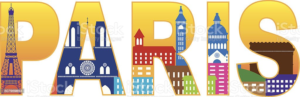 Paris City Skyline Silhouette Text Color Vector Illustration vector art illustration