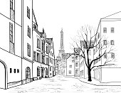 Paris city street engraving. Cityscape - alleyway with Eiffil tower
