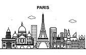Paris City Tour Cityscape Skyline Line Outline Illustration