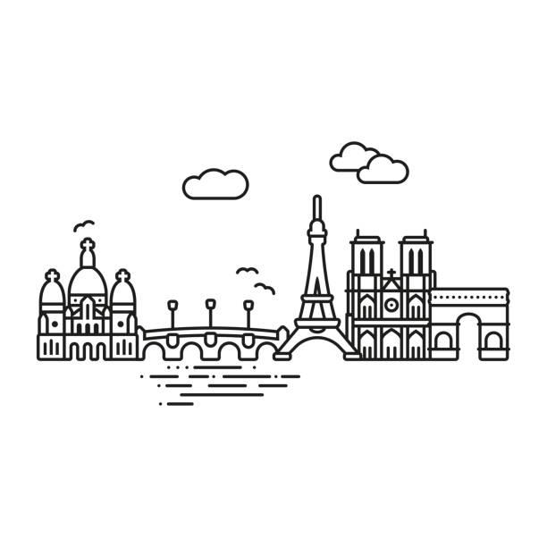 Paris cityscape vector illustration Line Icon style Paris city vector illustration seine river stock illustrations