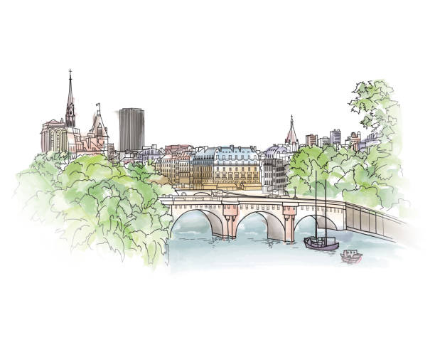 Paris cityscape with Seine riverside view. Old city Street Paris cityscape with Seine embankment. Old city spring view. Street shops and cafe in Paris city. Cityscape - houses, buildings and tree on alleyway. seine river stock illustrations