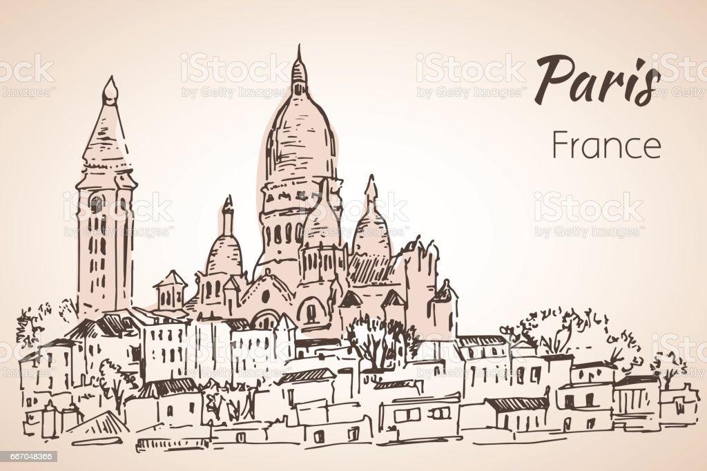 Paris Cityspace Basilique Du Sacrecoeur On Montmartre Sketch Stock ...