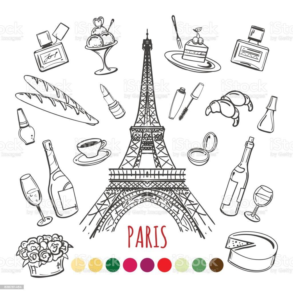 parijs kleurplaat pagina met kleurstalen stockvectorkunst