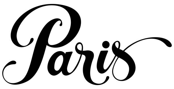 Paris - custom calligraphy text Vector version of my own calligraphy paris black and white stock illustrations