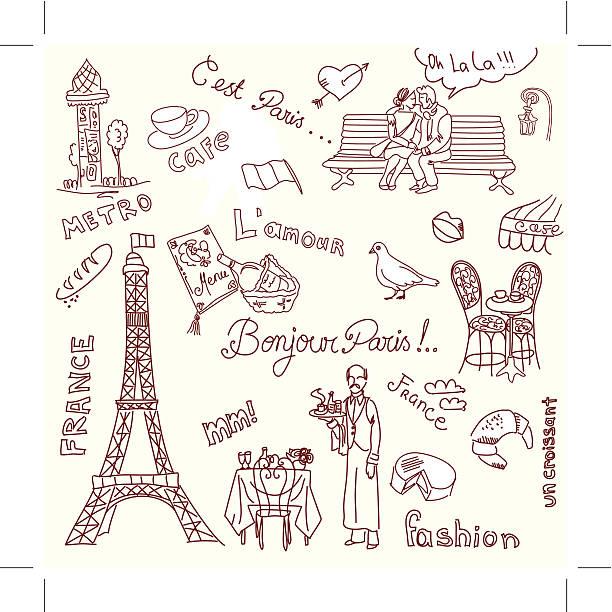 Paris Doodles vector art illustration
