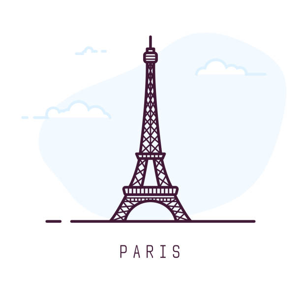 Paris Eiffel tower line style Paris city line style illustration. Famous Eiffel tower in Paris, France. Architecture city symbol of France. Outline building vector illustration. Sky clouds on background. Travel and tourism banner. eiffel tower stock illustrations
