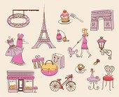 A set of decorative elements about Paris.