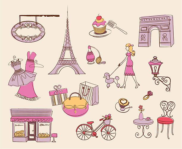 ilustrações, clipart, desenhos animados e ícones de paris elemento de design - moda parisiense