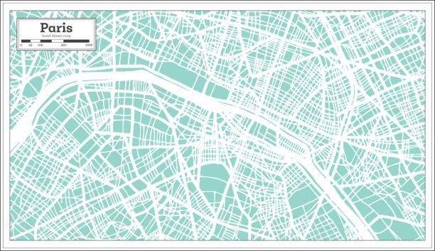 bildbanksillustrationer, clip art samt tecknat material och ikoner med paris frankrike stadskarta i retrostil. konturkarta. - paris