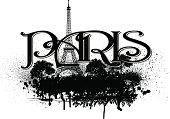 Paris France Eiffel Tower Grunge Graphic