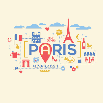 Paris France icons and typography design for cards, t-shirts, posters.