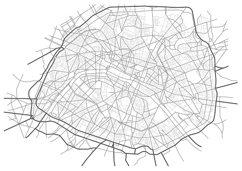 Paris France monochrome line city map. Plan of streets, urban background. Vector scheme with separated layers.