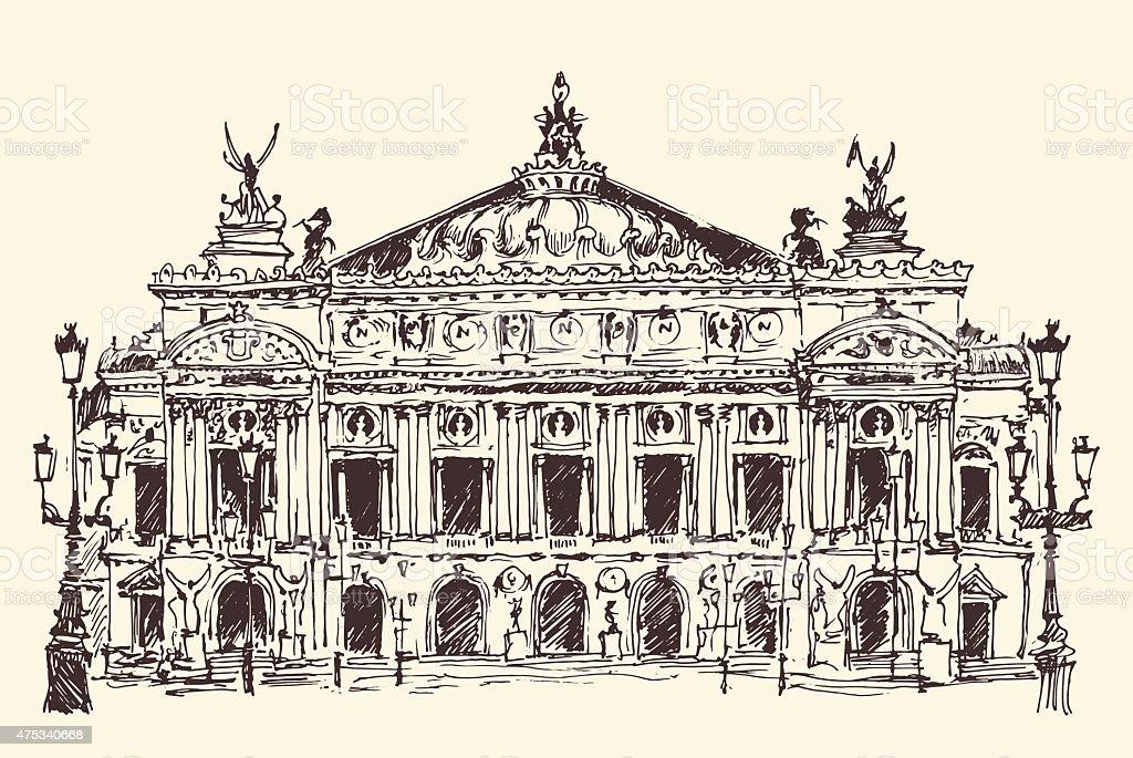 Paris, France, Palais Garnier (Paris opera house) vintage engraved vector art illustration