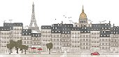Paris, France - seamless banner of Paris's skyline