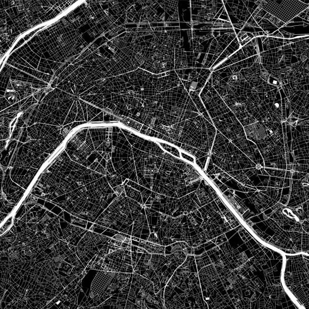 Paris, France Vector Map Topographic / Road map of Paris, France. Original map data is open data via © OpenStreetMap contributors paris black and white stock illustrations