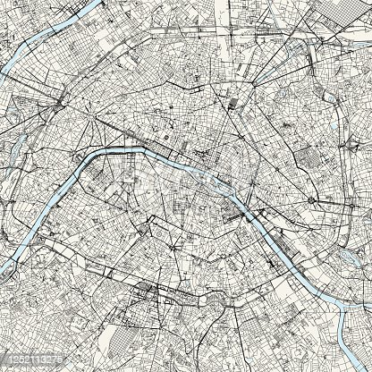 Topographic / Road map of Paris, France. Original map data is open data via © OpenStreetMap contributors