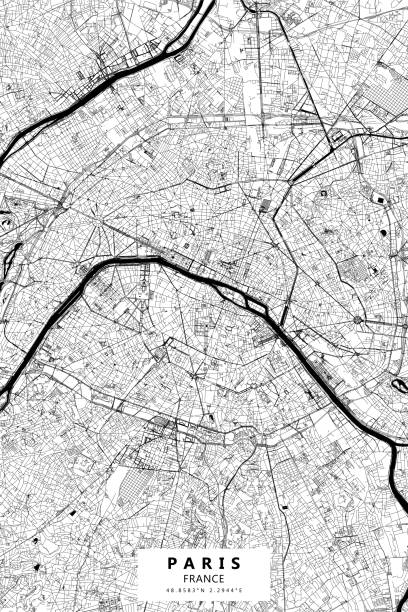 Paris, France Vector Map Poster Style Topographic / Road map of Paris, France. Original map data is open data via © OpenStreetMap contributors paris black and white stock illustrations