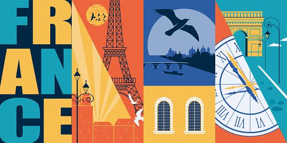 Paris, France vector skyline illustration, postcard. Travel to France modern flat graphic design element with French landmarks - Eiffel tower, Seine, arc de Triomphe, city views