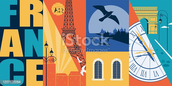 Paris, France vector skyline illustration, postcard. Travel to France modern flat graphic design element with French landmarks - Eiffel tower, Seine, arc de Triomphe, city views