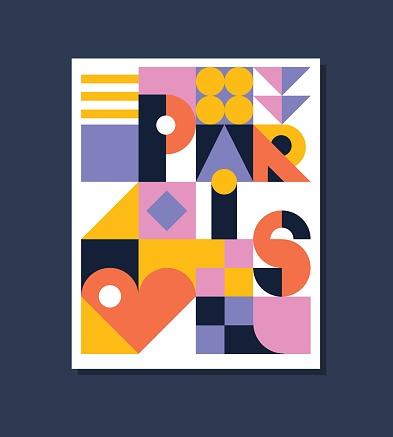 Paris geometric colorful  poster