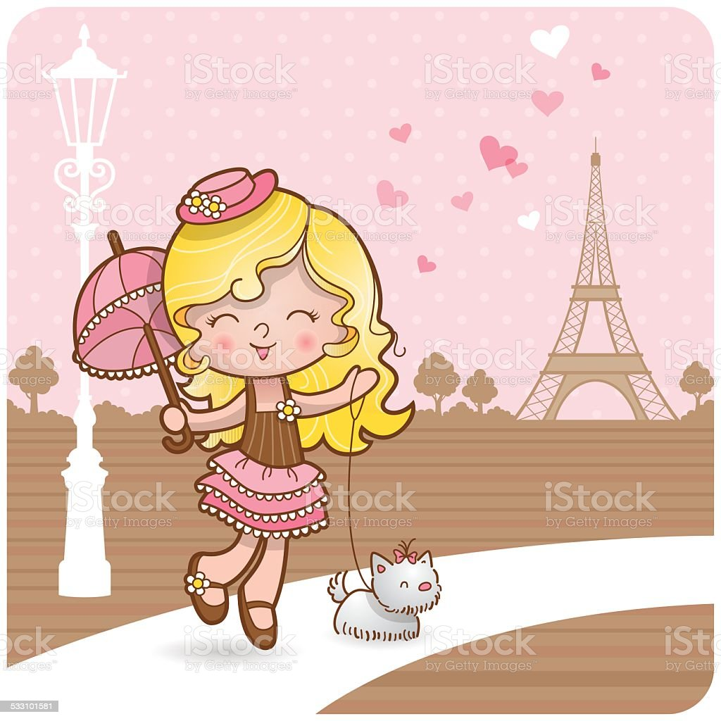 Paris girl vector art illustration