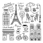 Paris hand drawn clipart. Illustrations of France and Paris
