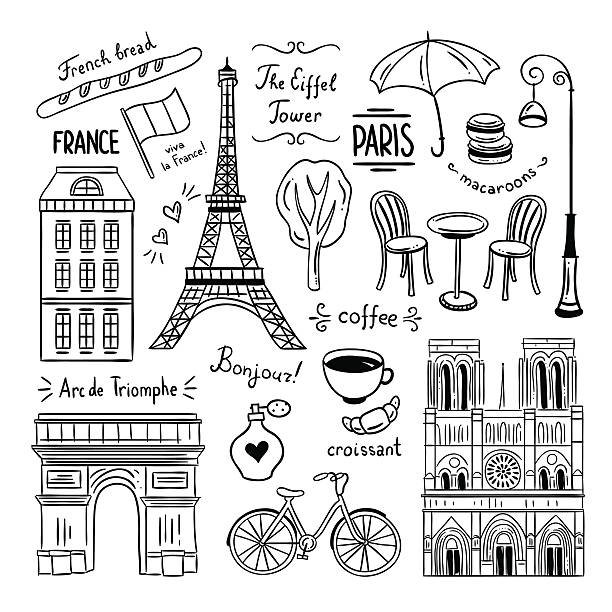 illustrations, cliparts, dessins animés et icônes de paris hand drawn clipart. illustrations of france and paris - paris