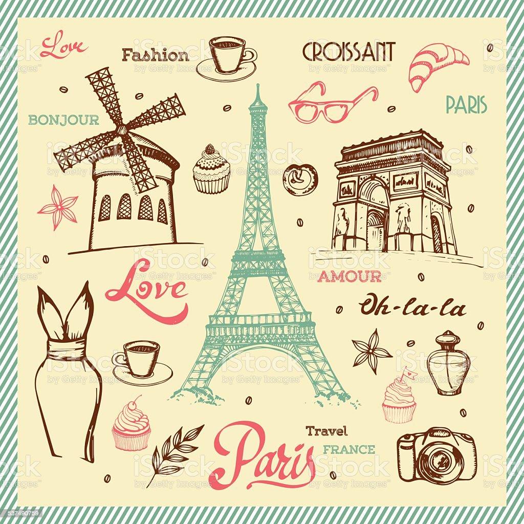 Paris hand drawn illustration with Eiffel tower vector art illustration