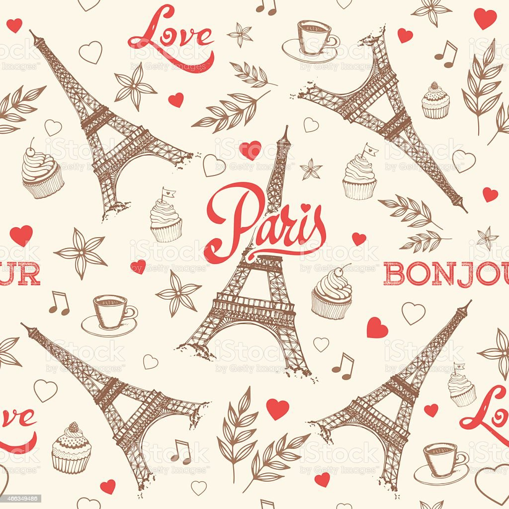 Paris hand drawn seamless pattern vector vector art illustration