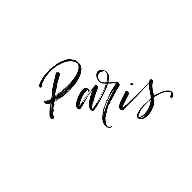 ilustrações, clipart, desenhos animados e ícones de mão de paris extraídas letras de vetor. - moda parisiense