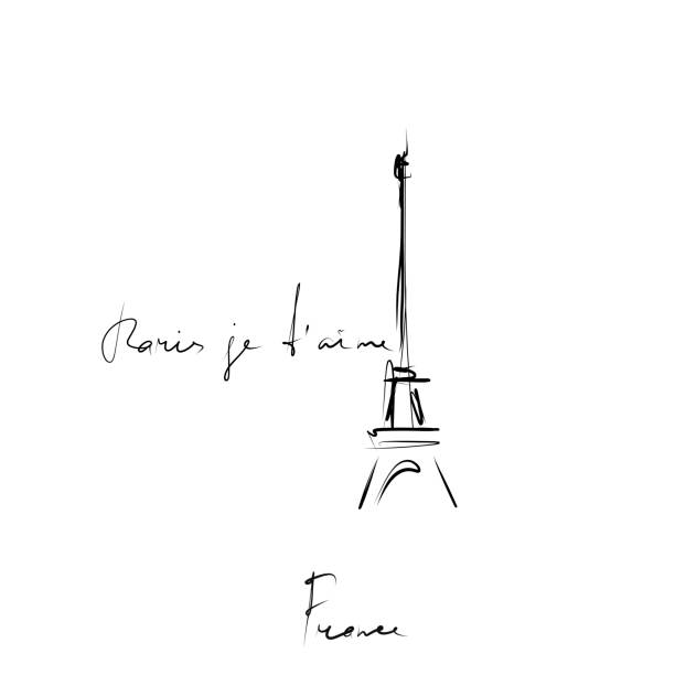 Paris I love you in French. Eiffel tower, sketch Hand drawn illustration, vector paris black and white stock illustrations